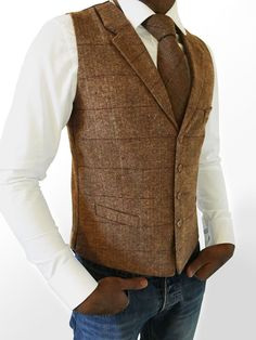 MENS WOOL BLEND TWEED BROWN TAILORED FIT HERRINGBONE CHECK LAPEL WAISTCOAT