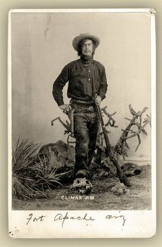 "Rufus ""Climax Jim"" Nephew poses in this studio shot at Fort Apache, circa 1898, some four years after the first of many arrests during his career as a likable safe cracker, escape artist, livestock thief and alleged train robber."