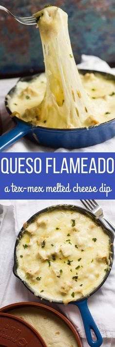 A delicious Tex-Mex appetizer, queso flameado is a warm bowl of cheese and meat served in tortillas.