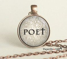 Poet - Necklace - Gifts for Poet - Poetry - Poetry Lover - Poet Necklace - Poetry Necklace - Quote Necklace - Copper - Gift -  (B0980)