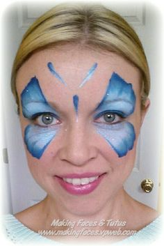 Easy, fast one stroke butterfly face painting