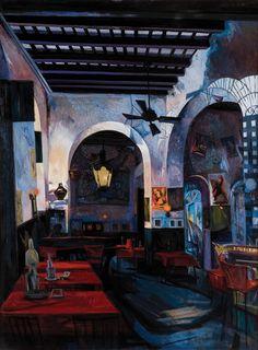 "Rafael Tufiño  La botella  1963    óleo sobre Masonite, 48"" x 35 3/4"" (121.9 x 91.4 cm)"