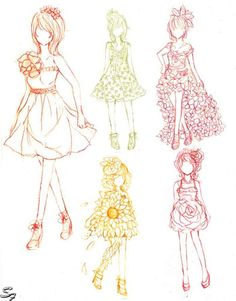 My continuation of my fashion design project. Ehh, not really a project but just a hobby C: They were all challenging itself, but the on. Flower statement of Fashion Cute Drawlings, Anime Dress, Fashion Sketches, Fashion Drawings, Drawing Clothes, Character Costumes, Love Art, My Drawings, My Design