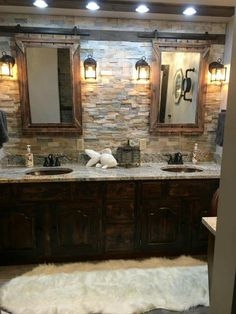 Beautiful DIY Rustic Bathroom Designs You Consider For Your Home Decor . - Beautiful DIY rustic bathroom designs that you could consider for your home decor - Rustic Bathroom Lighting, Rustic Bathroom Designs, Rustic Lighting, Lighting Ideas, Bathroom Ideas, Decorative Lighting, Bathroom Remodeling, Bathroom Makeovers, Bathroom Organization
