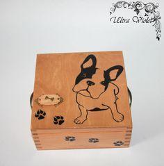 Exclusive tea box, tea, tea bag, box, wood, Französisch Bulldog, French Bulldog