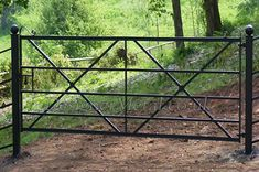 opening gates with mm box section posts capped with forged balls. Garden Gates And Fencing, Fences, Front Gates, Entrance Gates, Cotswold House, Ranch Fencing, Custom Gates, Farm Gate, Metal Gates