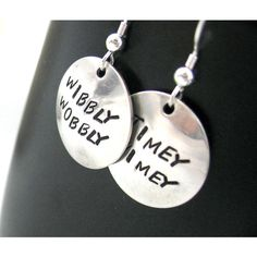 Doctor Who Sterling Silver Earrings - Wibbly Wobbly Timey Wimey... ($20) ❤ liked on Polyvore featuring jewelry, earrings, doctor who, earrings jewelry, handcrafted earrings, polish jewelry, letter jewelry and sterling silver initial jewelry