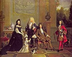 Louis XIV (seated) with his son le Grand Dauphin (to the left), his grandson Louis, Duke of Burgundy (to the right), his great-grandson Louis, Duke of Brittany, and Madame de Ventadour, Brittany's governess, who commissioned this painting; busts of Henry IV and Louis XIII in the background. After a reign of 72 years, Louis died of gangrene at Versailles on 1 September 1715, four days before his 77th birthday.