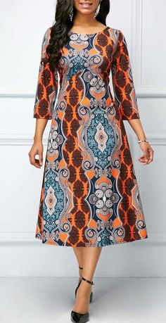 Round Neck Printed Three Quarter Sleeve Dress