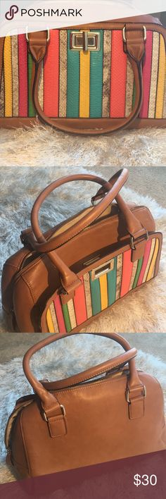 Aldo Tote Multicolored/cognac leather tote. Good condition. Bags Totes