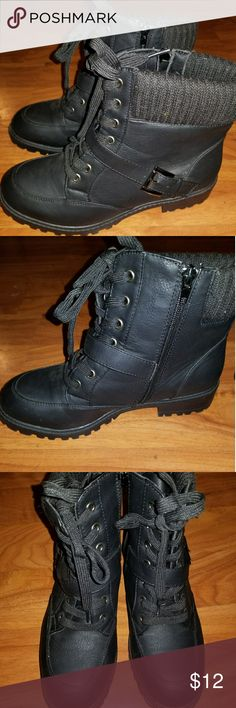 Black ankle boots I have a size 8 no brand ankle style combat boots. I have only wore these once. :) no Shoes Combat & Moto Boots