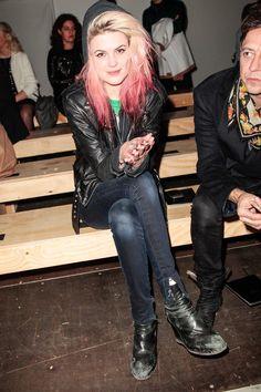 Alison Mosshart wears her custom LNA leather jacket to the Saint Laurent show is Paris.