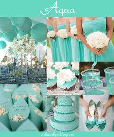"Aqua Wedding - ""Your Wedding Color — How to Choose Between Teal, Turquoise and Aqua"" - Read more: http://blog.exclusivelyweddings.com/2014/05/30/your-wedding-color-how-to-choose-between-teal-turquoise-and-aqua/"