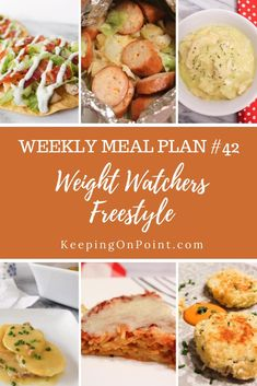 Weight Watchers Weekly Meal Plan No. 42 - this meal plan includes dinner recipes for the week plus a printable shopping list. Weight Watchers Meal Plans, Hungry Girl Recipes, Healthy Recipes, Healthy Meals, Healthy Eating, Meals For The Week, Nutritious Meals, Main Meals, Meal Planning