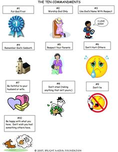 Ten Commandments for Kids - maybe create a matching game with pictures/commandment