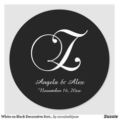 White on Black Decorative Script Monogram Z Classic Round Sticker Monogram Gifts, Christmas Card Holders, Round Stickers, Custom Stickers, Keep It Cleaner, Holiday Cards, Script, Activities For Kids, Lettering