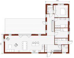 Klövsjö 172 Bungalow Floor Plans, Apartment Floor Plans, House Floor Plans, Flat House Design, Village House Design, Best House Plans, Modern House Plans, L Shaped House Plans, Philippines House Design