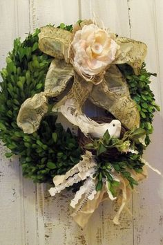 Boxwood Spring wreath adorned with paper by AnitaSperoDesign, $72.00