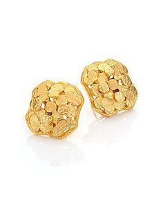 Stephanie Kantis Seashore Hammered Stud Earrings - Gold