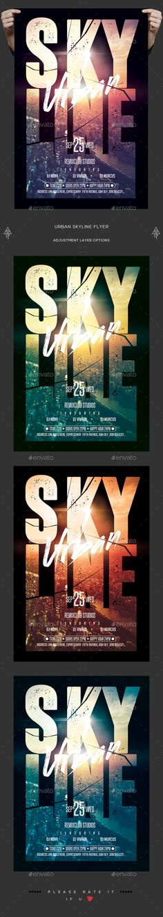 Urban Skyline Flyer  — PSD Template #metropolis #new • Download ➝ https://graphicriver.net/item/urban-skyline-flyer/18250148?ref=pxcr