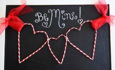 In just 10 minutes you can put together one of the cutest Valentines Day decorations we've seen! This Striped Straw Heart Garland is such a unique way to craft with unexpected materials. Find out how to make your own garland craft with this tutorial. Straw Valentine, Valentine Love, Valentine Crafts For Kids, Homemade Valentines, Valentines Day Decorations, Happy Valentines Day, Holiday Crafts, Valentine Ideas, Kids Crafts