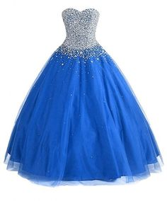 Women's Sweetheart Ball Gown Beaded Prom Dresses Tulle