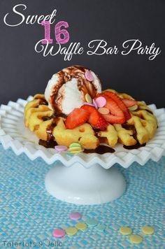 Sweet 16 Waffle Bar Party with FREE Printables!! -- Tatertots and Jello