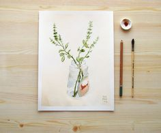 Kitchen Herbs Basil Branches in a Jar giclee print by ucuspucus, $28.00