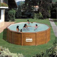 piscine hors sol acier aspect bois 460 x 120 - Piscine Hors Sol Metal Aspect Bois