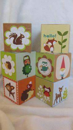 Gnome Blocks: Woodland Creature Owl Hedgehog Gnome Wood Blocks  Nursery Room Decor Baby Shower Decoration Birthday Party Toddler Building Toys Set of 6. $28.50, via Etsy.