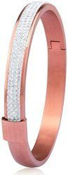 Stainless Steel Bangle with Crystals - Rose Gold plated