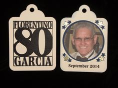 This double-sided oversized tag was used as a hanging decoration at an 80th birthday celebration. Afterwards they were taken down and distributed to guests as favors.