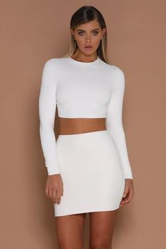 7be5a40c40076 Mila Long Sleeve Crop Top - White