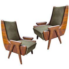 Osvaldo Borsani; Rosewood Frame Lounge Chairs, c1940.
