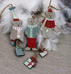 Drevené vianočné ozdoby Macko