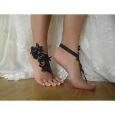 Black Lace Barefoot Sandals, french lace, Nude shoes, Gothic, Foot... ($24) ❤ liked on Polyvore featuring shoes, sandals, gothic shoes, black lace sandals, nude sandals, black sandals and nude shoes