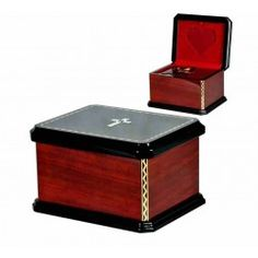 Mahogany Solid Wood Casket with Catholic Cross Swarovski Crystals Funeral Cremation Ashes Urn for Adult (221c)