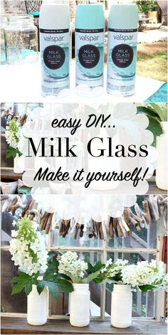 Make your own Milk Glass - use free mason jars and Valspar Milk Glass Paint details at http://RefreshRestyle.com