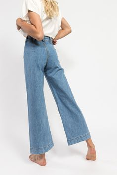 Finally, our favorite silhouette in our favorite fabric. Shop the Jesse Kamm Sailor pant in American denim now.