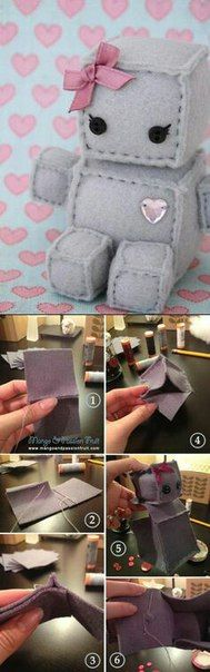 Robot Plush DIY Tutorial put velcro on sides make own toys Cute Diys, Cute Crafts, Crafts To Do, Felt Crafts, Fabric Crafts, Sewing Crafts, Kids Crafts, Sewing Projects, Sewing Art
