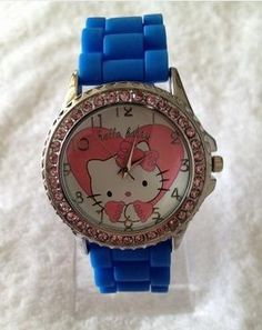 Blue Silicone Hello Kitty Watch - FREE SHIPPING! $8.99. To Cute! But would love the band in black so i could wear it all the time