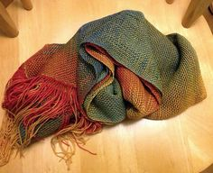 WTKnitting's Impressionist Shepherd Scarf -- woven on a rigid heddle loom