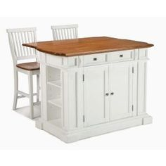Kitchen Island In White With Oak Top And Two Stools