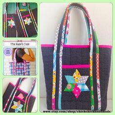 chick chick sewing: My Original Tote Bag with EPP Star Pockets ☆トートバッグのポケットにパッチワークの星飾り☆