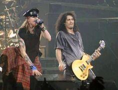 Axl Rose and Slash of Guns N' Roses, early '90s... Slash's Les Paul Is Incredible :)