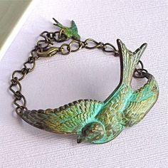 Bird Cuff Bracelet  Verdigris Brass Jewelry by mcstoneworks, $28.00