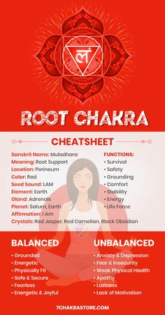 "Root Chakra, also known as Base Chakra, is the first of the seven chakras associated with survival, grounding and safety. It is the foundation of our entire system on which the other chakras sit and it is situated at the base of the spine. Root Chakra color is red and its element is Earth. The Sanskrit name for Root Chakra is Muladhara, which means ""root support"". Main function of root chakra is to keep us grounded in the physical world and to keep us alive. It is where Kundalini energy… Root Chakra Meditation, Root Chakra Healing, Yoga Meditation, Chakra Mantra, Chakra Art, 7 Chakras Meaning, Reiki, Chakra For Beginners, Chakra Crystals"