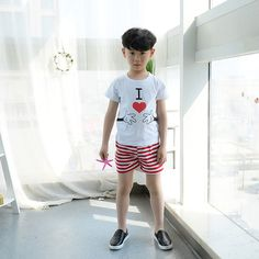 2PCS Baby Boy Clothing White T-shirt With Painting I Love Cartoon Finger Pure Cotton Striped Short Pant Sport Set For Children 2018 from yunrao, $10.16   DHgate Mobile