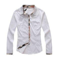White Women Burberry Long Sleeve Shirt  Burberry-Shirt-Women-15  - 7ad0393ee6