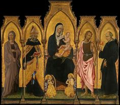 Giovanni di Paolo (Giovanni di Paolo di Grazia)TitleMadonna and Child with Saints Description Painting, polyptych; Paintings Date1454MediumTempera on wood, gold groundDimensionsCentral panel 82 3/4 x 25 7/8 in. (210.2 x 65.7 cm); left panels 70 7/8 x 16 7/8 in. (180 x 42.9 cm), 70 7/8 x 16 3/4 in. (180 x 42.5 cm); right panels 70 7/8 x 16 7/8 in. (180 x 42.9 cm), 70 7/8 x 16 3/4 in. (180 x 42.5 cm)Current location Metropolitan Museum of Art